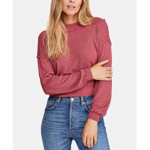 Free People Stay With Me Hacci Top in Raspberry